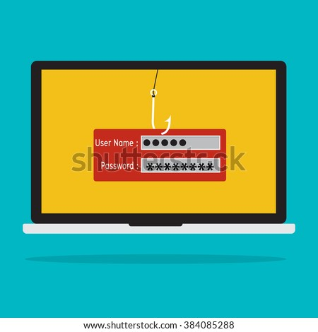 Computer with malware virus phishing username and password logon. Vector illustration business computer security technology concept. - stock vector