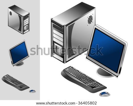 Computer with monitor, keyboard, mouse and case - stock vector