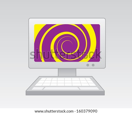 Computer with purple yellow spiral on screen  - stock vector