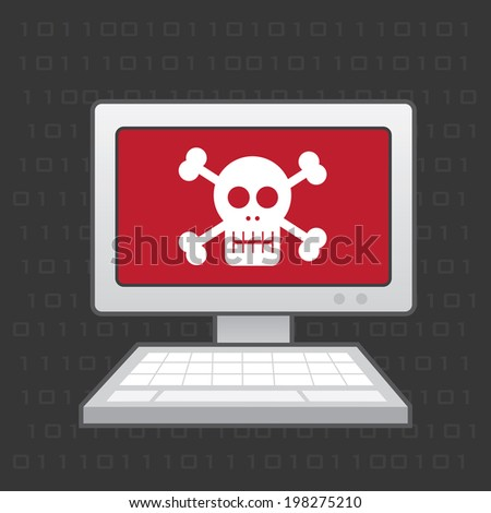 Computer with red skull screen  - stock vector