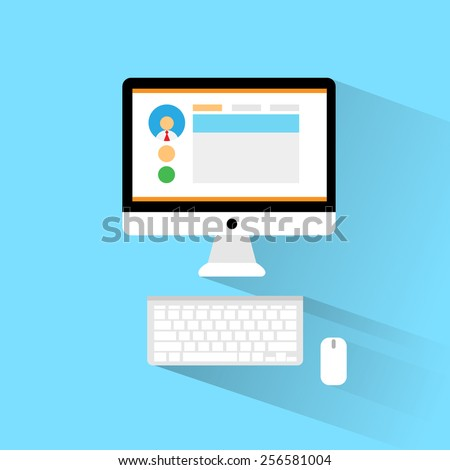 computer workstation workplace flat icon design vector illustration - stock vector