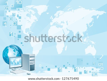 Computer world. Vector illustration of the computer with the flat monitor, the mouse and the globe on an abstract background with a world map - stock vector