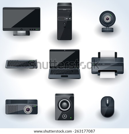 Computers and peripherals vector icons. Realistic miniatures collection.