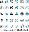 computing and Mobile Icons with blue and black - stock vector