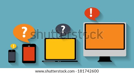Computing Concept on Different Electronic Devices. Vector Illustration - stock vector