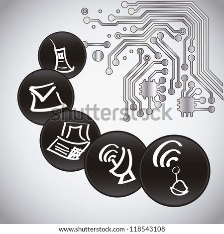 Computing icons and circuit board - stock vector
