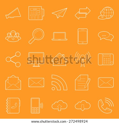 Comunication and web thin lines icons set vector graphic illustration design - stock vector