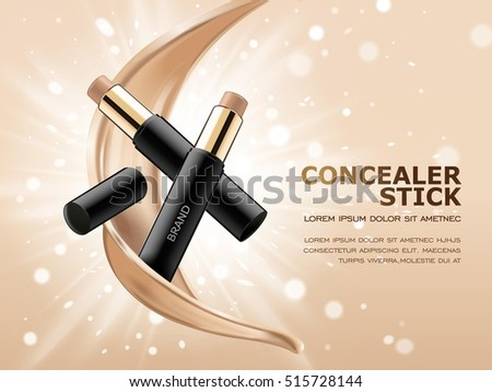 Concealer stick ads, 3d illustration foundation product with liquid foundation texture floating in the air