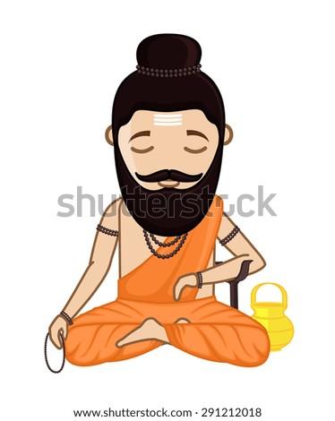 Concentrating Maharishi Vishvamitra - Hindu Saint - stock vector