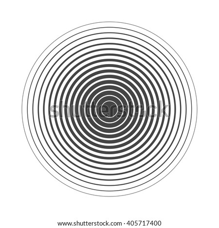 Concentric circle. Illustration for sound wave. Black and white color ring. - stock vector