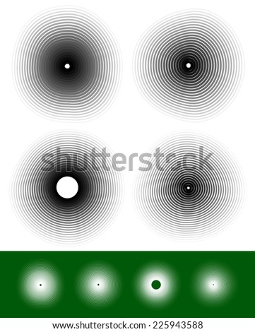 Concentric circles with deformation and effect - stock vector