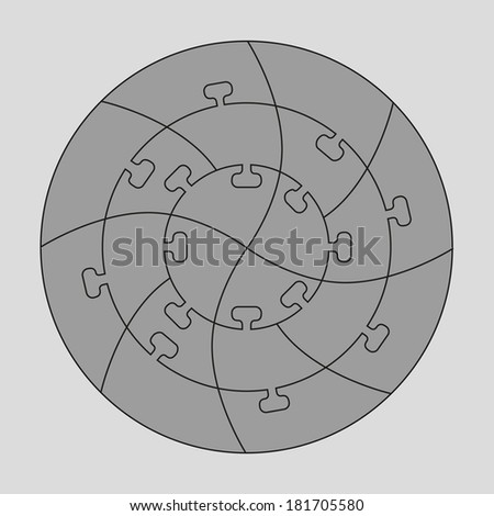 Concentric jigsaw puzzle.  Editable lines for your design. A vector illustration