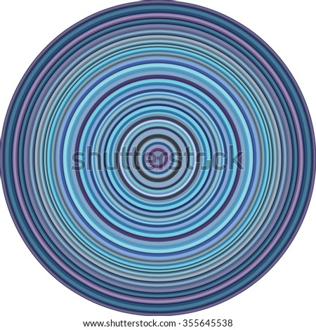 concentric pipes circular shape in multiple blue purple - stock vector