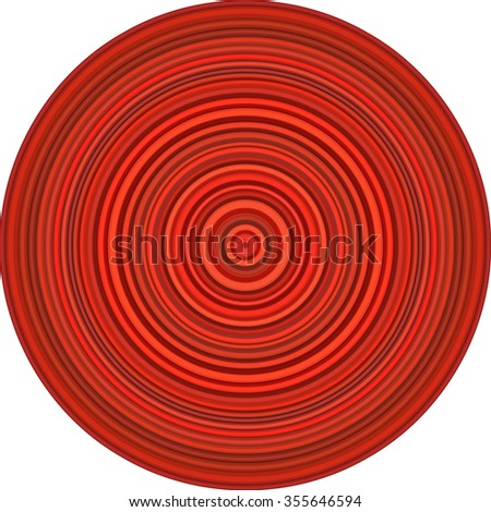 concentric pipes circular shape in multiple red - stock vector