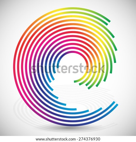 Concentric, spirally lines with spectrum colors. Twisting, rotating lines in multicolor fashion. Twisted abstract design element. - stock vector