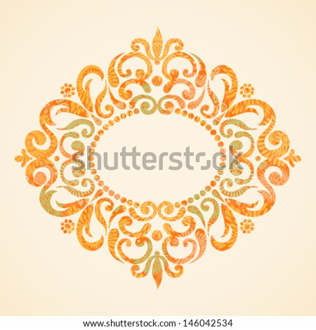 Concept abstract autumn frame with space for text. Ornament frame in Victorian style. Element for design. It can be used for decorating of invitations, greeting cards, decoration for bags and clothes. - stock vector