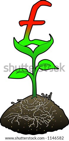 Concept art depicting FINANCIAL GROWTH (Pound) - stock vector