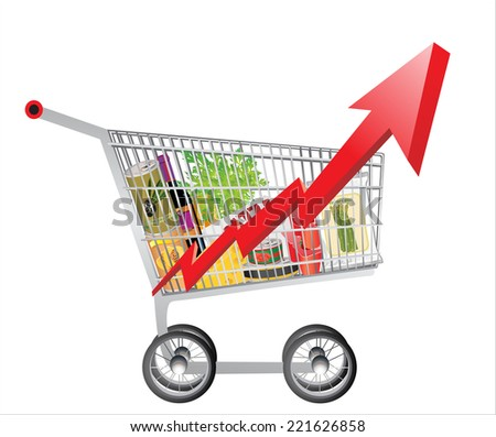 Concept. Basket with goods inside, a red sign with a chart indicate increase the prices food - stock vector