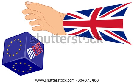 concept BREXIT for United Kingdom with a hand throwing a dice with options EU or BREXIT, isolated illustration   - stock vector