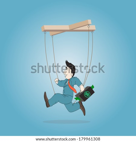 Concept business,Businessman puppet  with briefcase on a string,Vector illustration