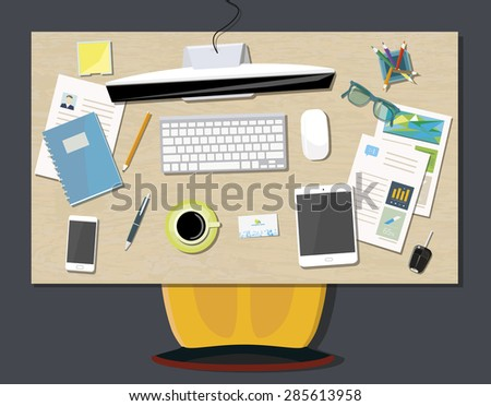 Concept business office with a view of office desk from the top - stock vector