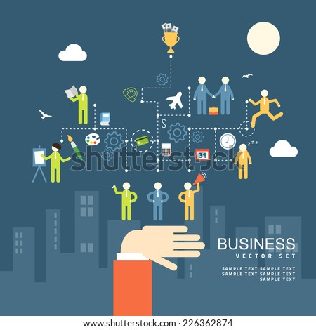 Concept business people agreement, teamwork flat design vector illustration - stock vector