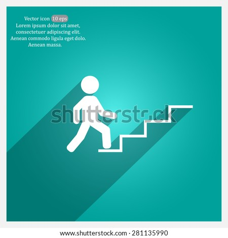 Concept, businessman on stair or steps, metaphor to success, climb, business, rise, achievement, growth, job, career, leadership, education, goal or future - stock vector