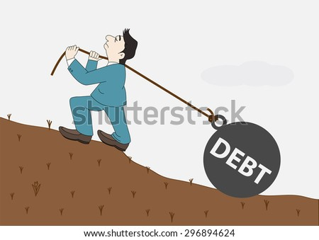 Concept Businessman with pulling a heavy load ball debt, Vector illustration - stock vector