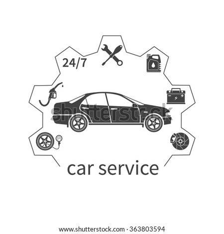 Concept car service. Auto service and repair icons isolated. Fuel, pressure in the tires, battery, brakes, 24/7, oil. Template web banners and promotional materials. Vector illustration - stock vector