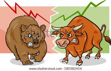 Concept Cartoon Vector Illustration of Bear Market and Bull Market Stock Trends - stock vector