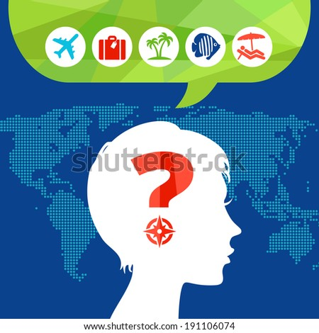 Concept - choice for leisure travel - stock vector