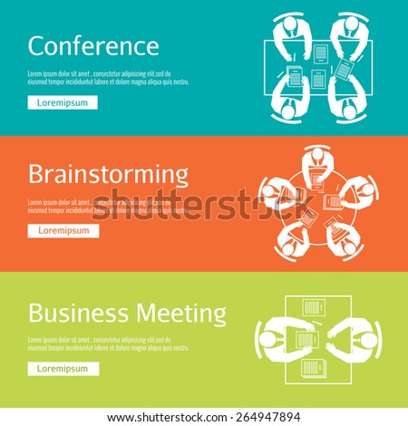 Concept conference, business meeting and brainstorming. Office discussion, corporate and company, team and people. Vector illustration - stock vector