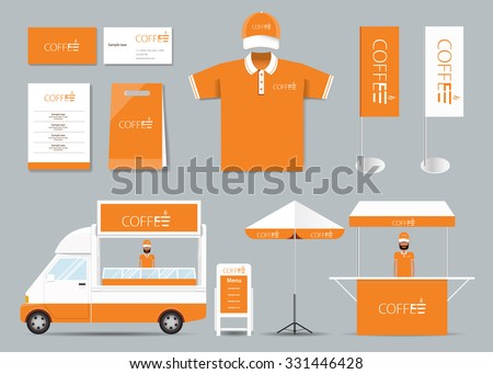 concept  corporate branding identity mock up template for coffee shop and restaurant. card .menu.polo shirt.vector.orange - stock vector