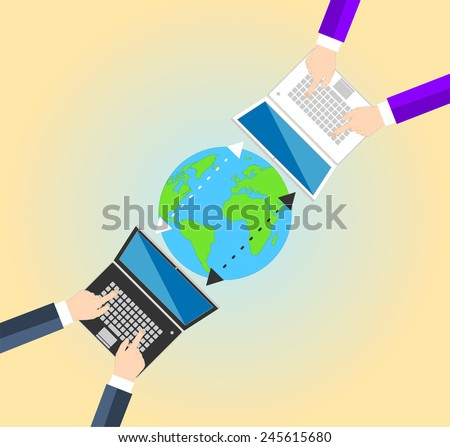 Concept Data sharing between businessman in different parts of the world. Laptops and information in the form of a cloud the globe. Vector illustration EPS10 - stock vector