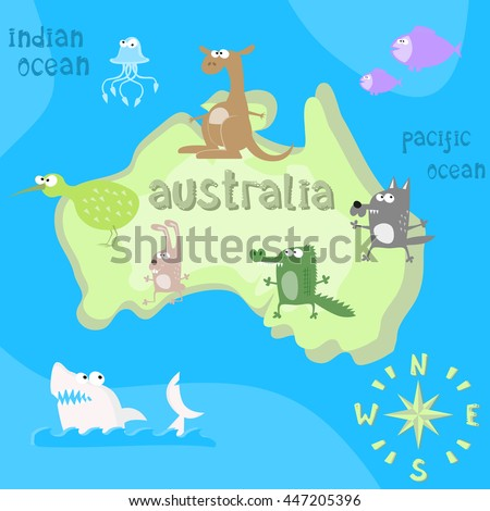 Superb Concept Design Map Of Australian Continent With Animals Drawing In Funny  Cartoon Style For Kids And