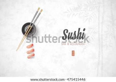 Concept design invitation sushi restaurant vector em vetor stock concept design of the invitation sushi restaurant vector illustration texture of a bamboo stopboris Images
