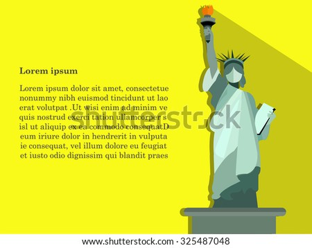 concept design of vector,statue of liberty on yellow background,cute design of statue of liberty,statue holding fire. - stock vector
