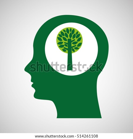 concept environment tree silhouette head vector illustration eps 10
