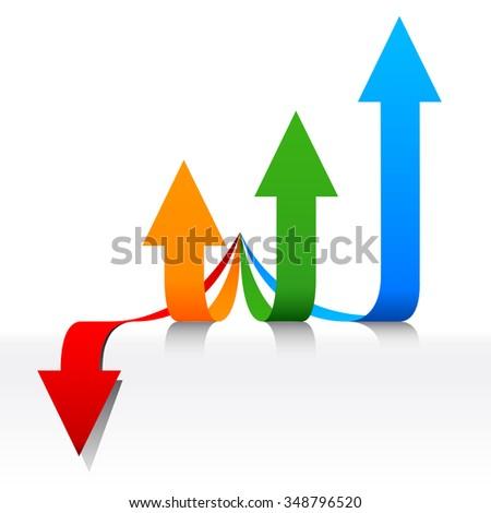 Concept Fiscal developments, arrows growing - stock vector