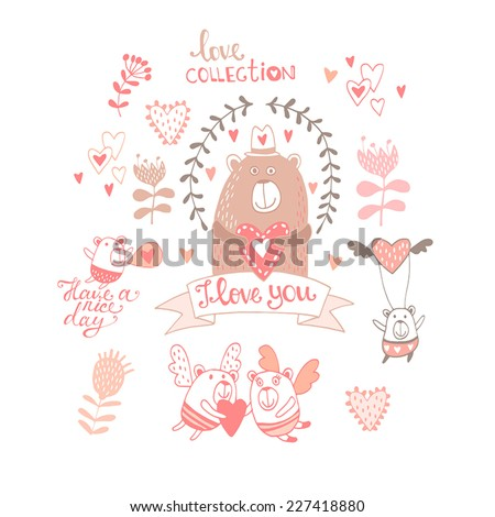 Concept for card with cute bear with romantic elements. Bright invitation card in vector. Love collection. I love you  - stock vector