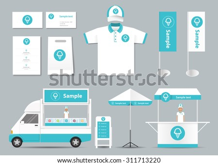 concept for coffee shop and  restaurant  identity mock up template. card .menu.t-shirt.car.umbrella.vector - stock vector
