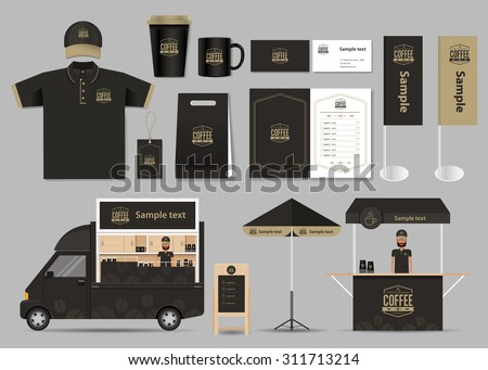 concept for coffee shop and  restaurant  identity mock up template. card .menu.t- shirt.vector - stock vector