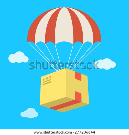 Concept for delivery service. Package flying down from sky with parachute. Flat design colored vector illustration. - stock vector