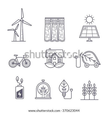 Concept for environment, ecology, ecosystem and green technology themes. Vector outline logo icons set. Illustration of eco transport, nature protection, solar power, windmill and water power station. - stock vector