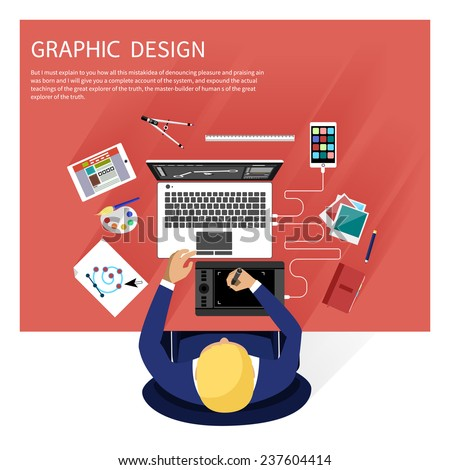 Concept for graphic design, designer tools and software in flat design with computer surrounded designer equipment and instruments. Top view of designer draws on tablet at desk - stock vector