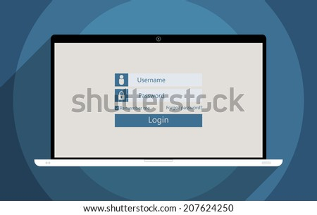 Concept for information security and personal data protection. Flat design illustration. - stock vector
