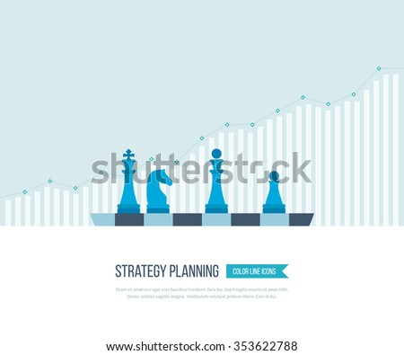 Concept for investment, strategy planning, finance, market data analytics, strategic management. Strategy for successful business. Investment growth. Strategy business. Strategy concept. - stock vector