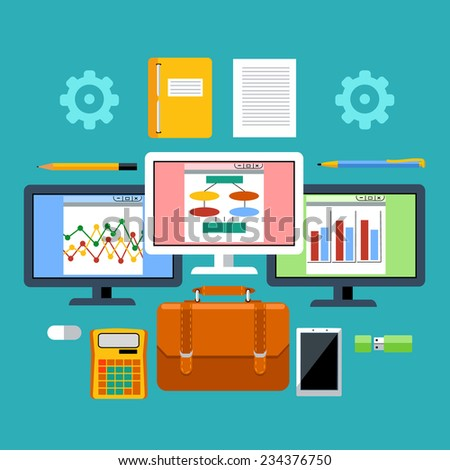 Concept for management tools with analytic graphics on LCD monitors, digital tablet, calculator, leather briefcase and stationery in flat design - stock vector