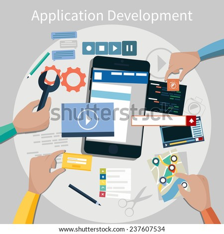 Concept for mobile application development, teamwork, brainstorm, cooperation with hands working on a smartphone navigation, screen interface, social media,  services - stock vector