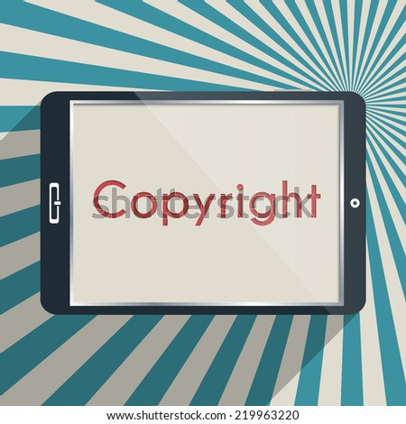 Concept for protection of intellectual property and copyright. Flat design illustration. - stock vector